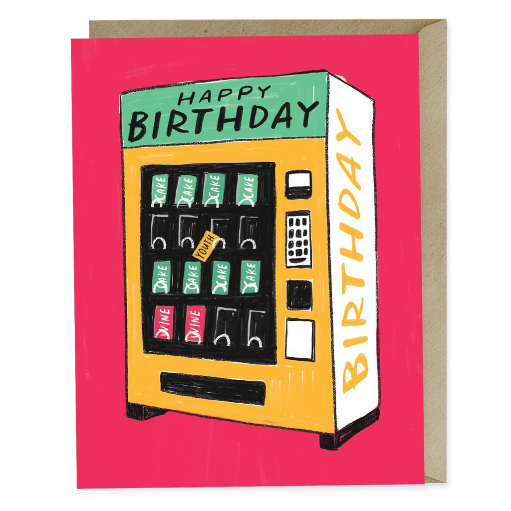 Card reads Happy Birthday on an illustration of a vending machine. Youth bar is stuck.