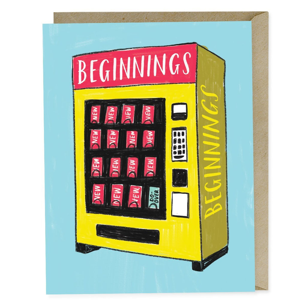 Emily McDowell New Beginnings Vending Card. Illustration of vending machine with Beginners written at top