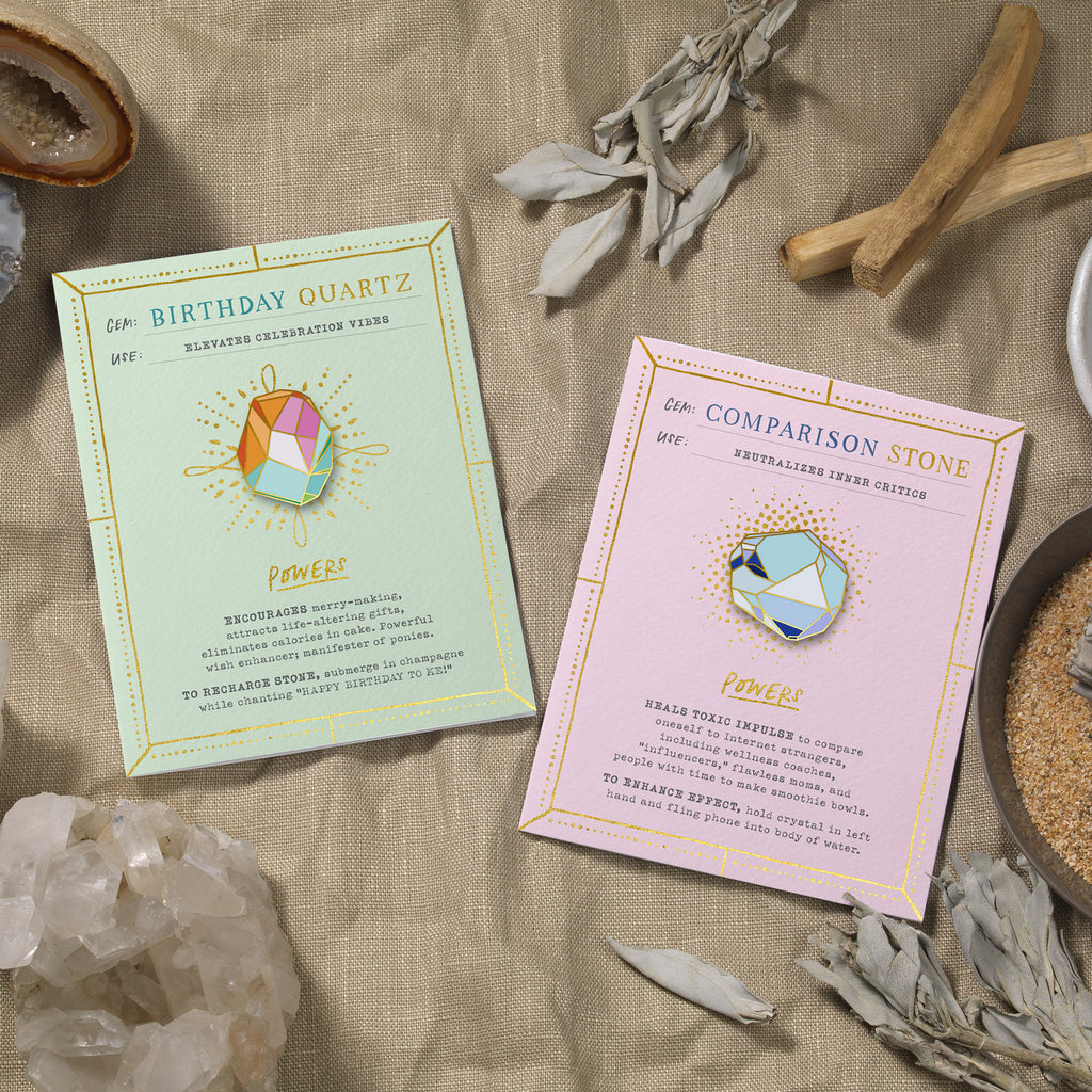Birthday Quartz Fantasy Stone Pin & Card