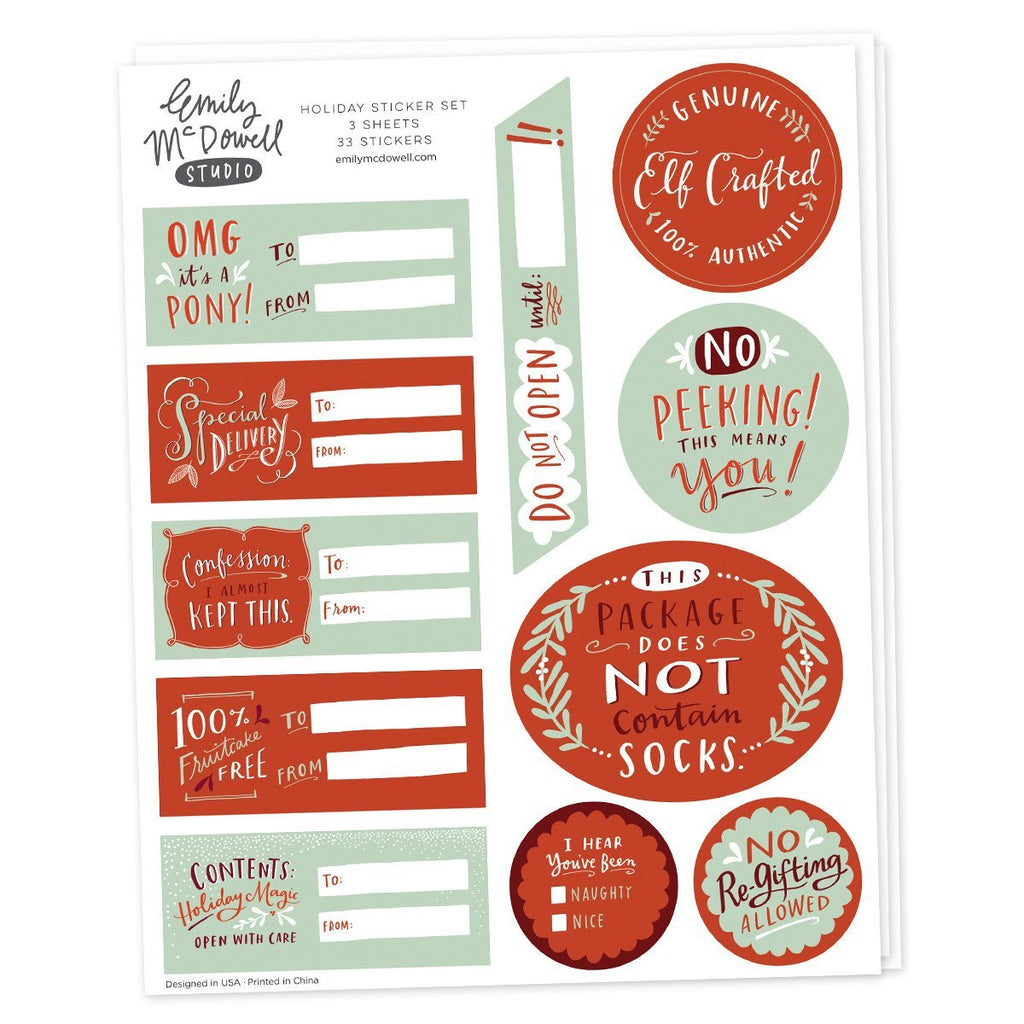 Holiday Sticker Sheets