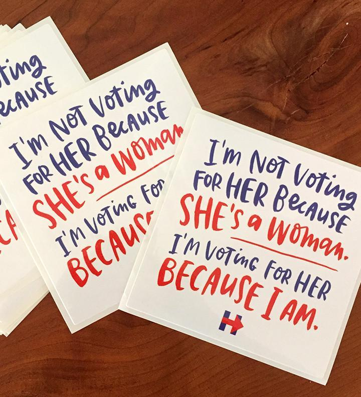 """We're With Her!"" Sticker 3-Pack"