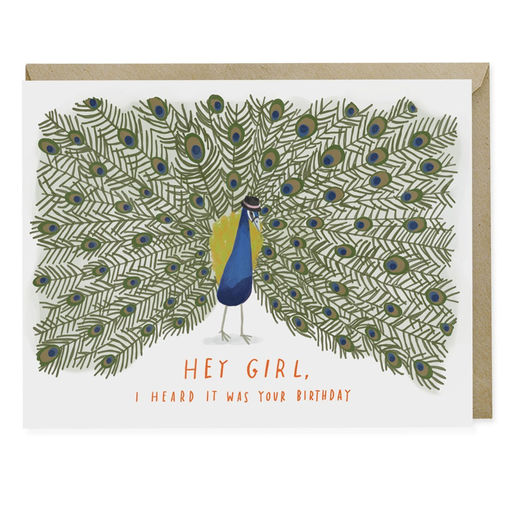 Hey Girl Peacock Birthday Card