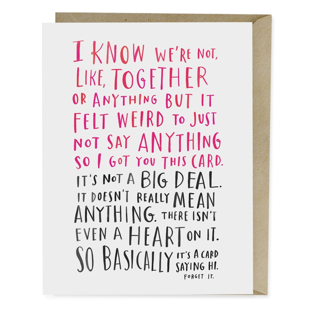 Awkward Thinking Of You Card Emily Mcdowell Studio