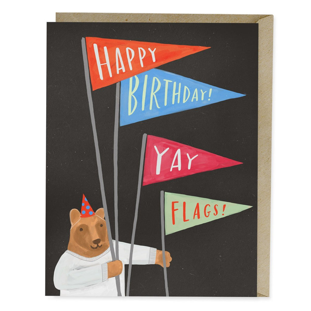 Yay Flags! Bear Birthday Card