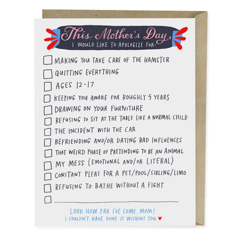 Emily McDowell Checklist Mother's Day Card