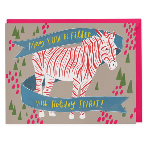 Holiday Spirit Zebra Card