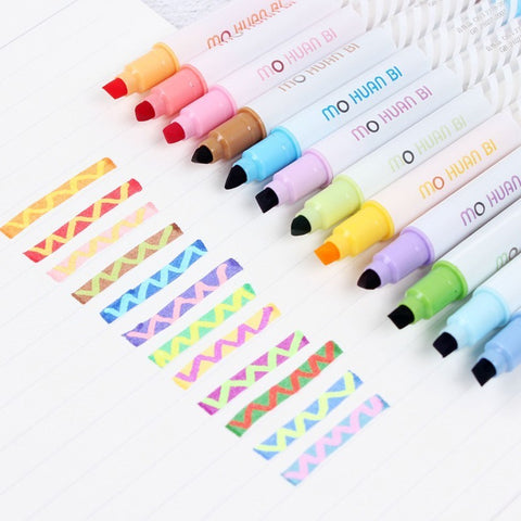 12Colors Double-end Highlighter Pens