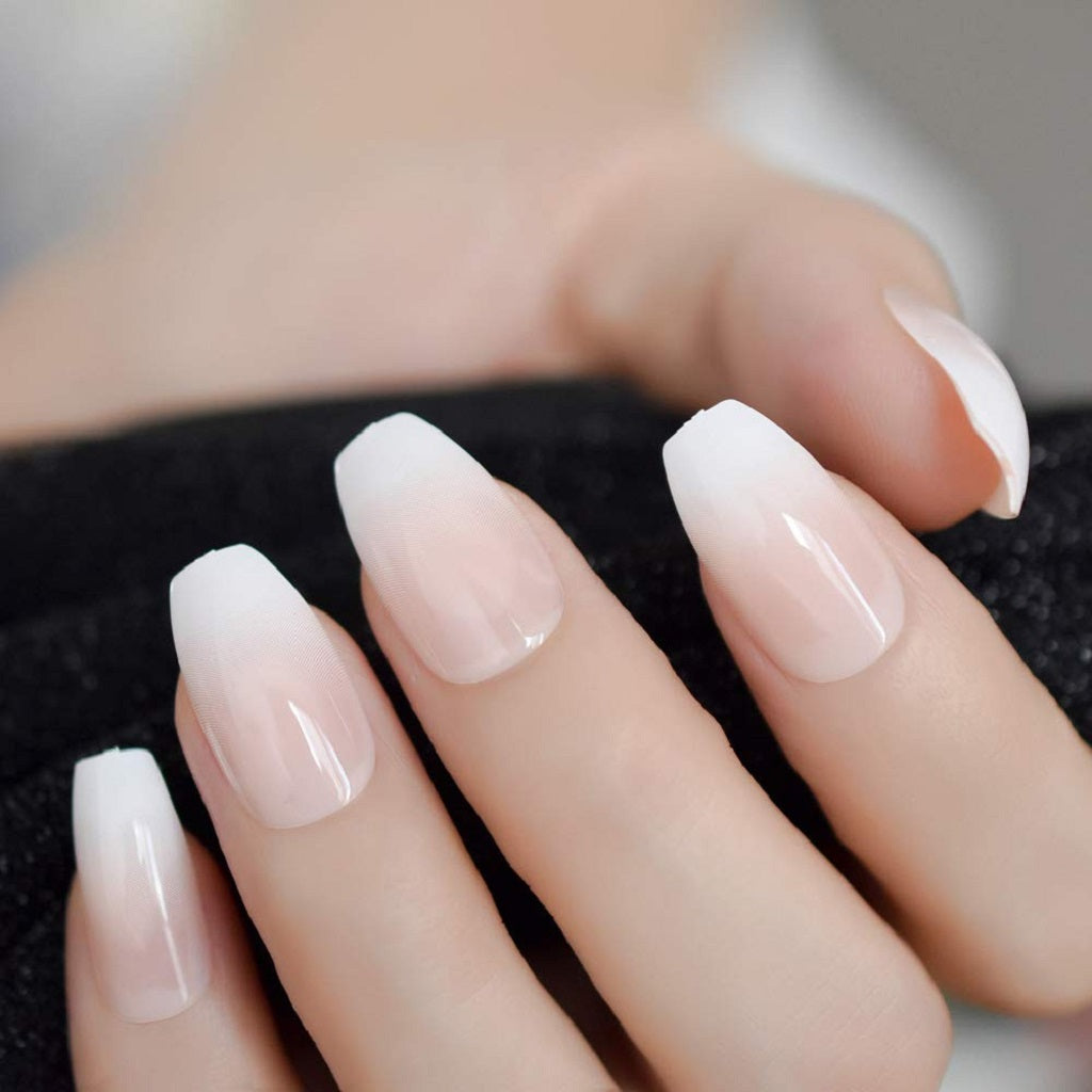 Aaviland French Ballerina Coffin Pink Nude White False Nails