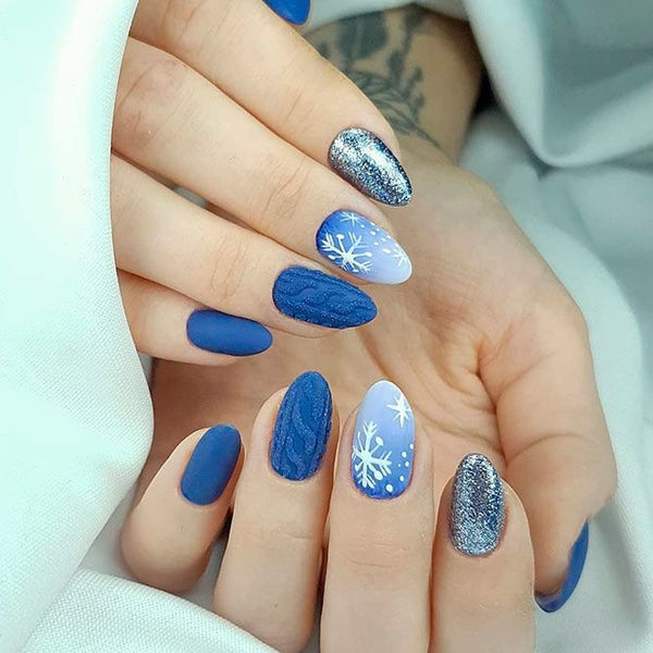 Baby Blue Christmas Nails