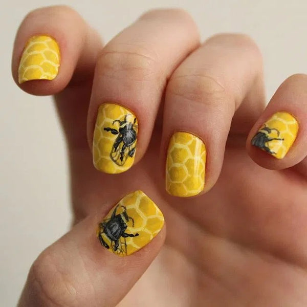 Bumblebee Colorful Flower Nails