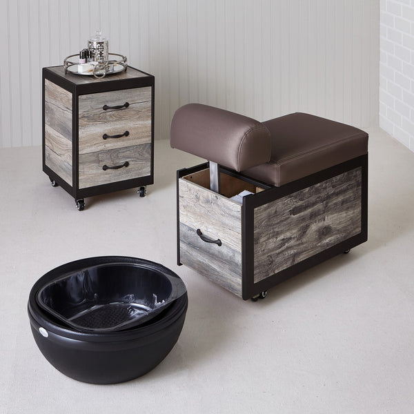 Dina Meri Salon Spa Pedicure Station Stool with Footrest and Back Support