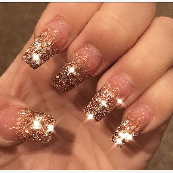 Embellished Pink and Gold French Nails