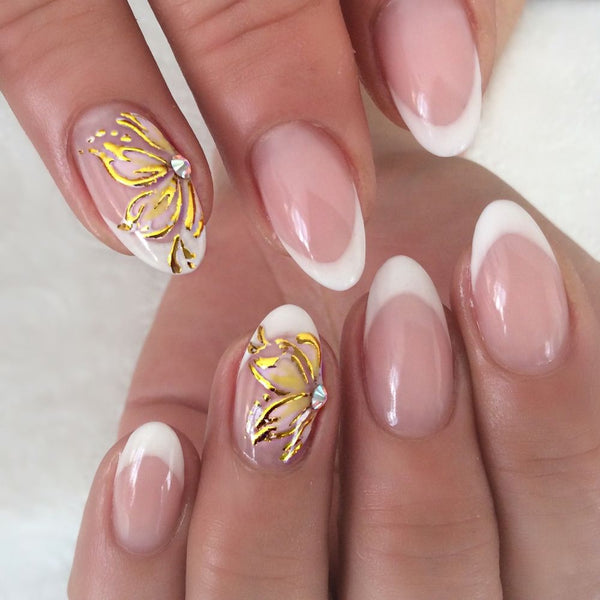 French short round Manicure with Shiny Flower Design