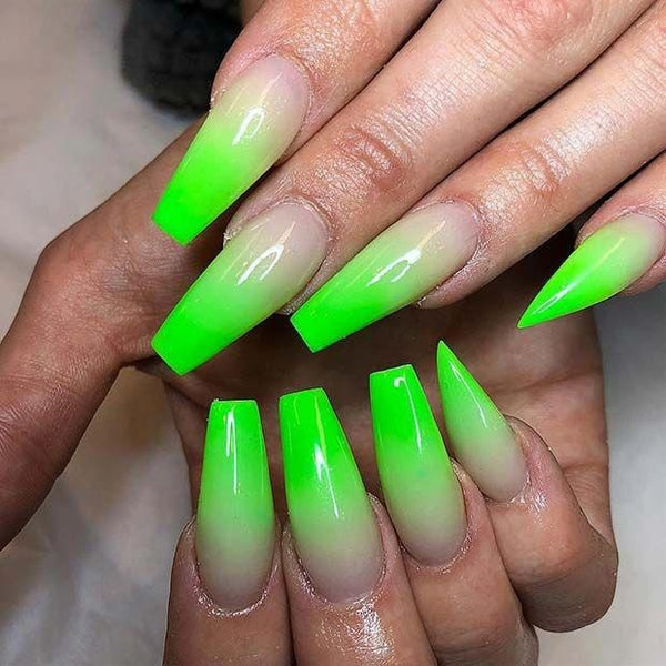 Glittering Clear Jelly Pinkies in Poison Ivy Green Ombre