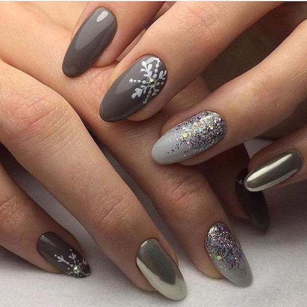Grey Color Nails for Christmas