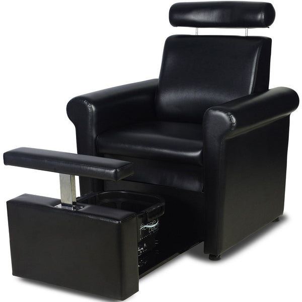 """Icarus """"Crest"""" Black Pedicure Foot Spa Station Chair"""
