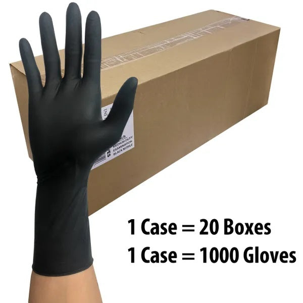 """Infi-Touch 8mil Thickness Black Latex 12"""" Length Disposable Gloves, X-Large"""