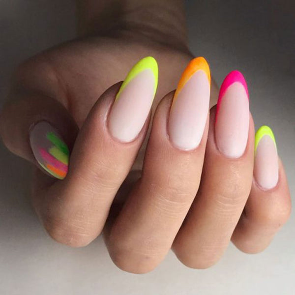 Neon Colors on French Manicure