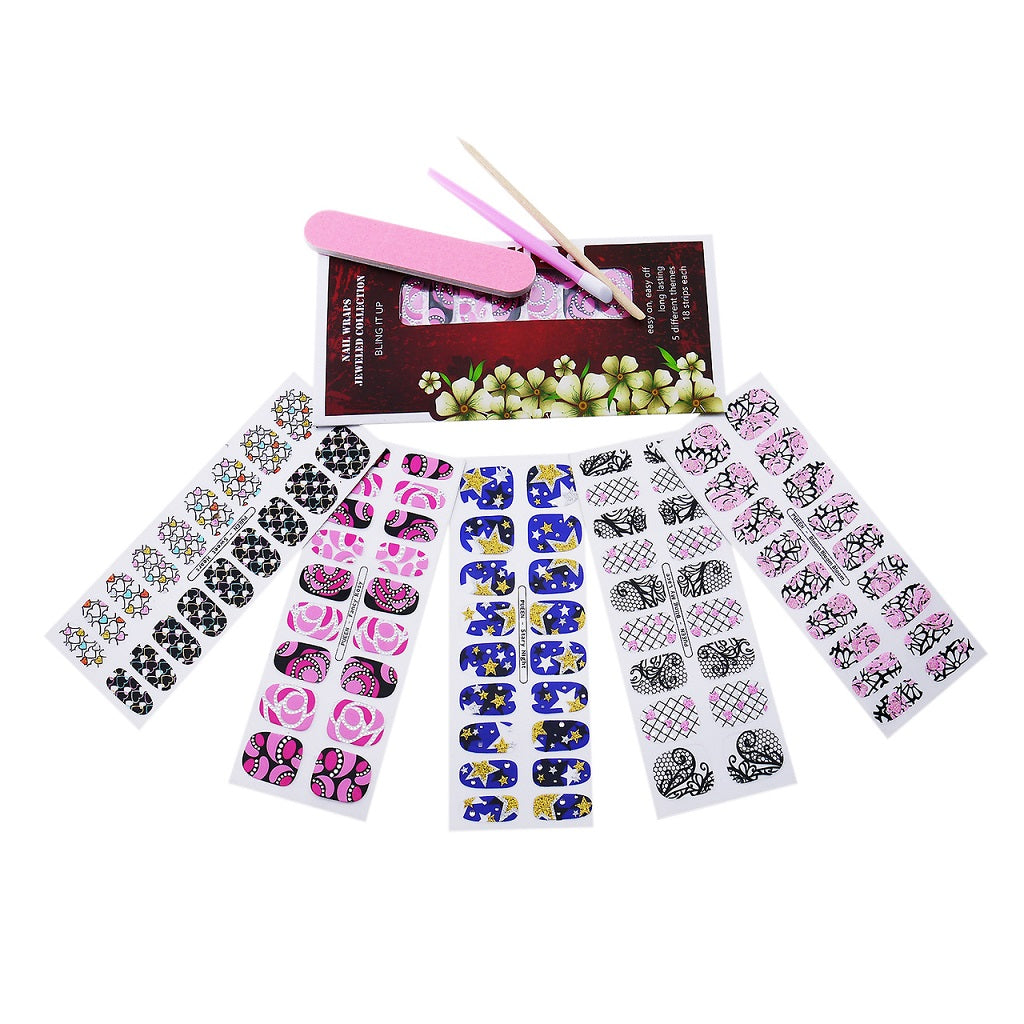 PUEEN 3D Jeweled Nail Wraps