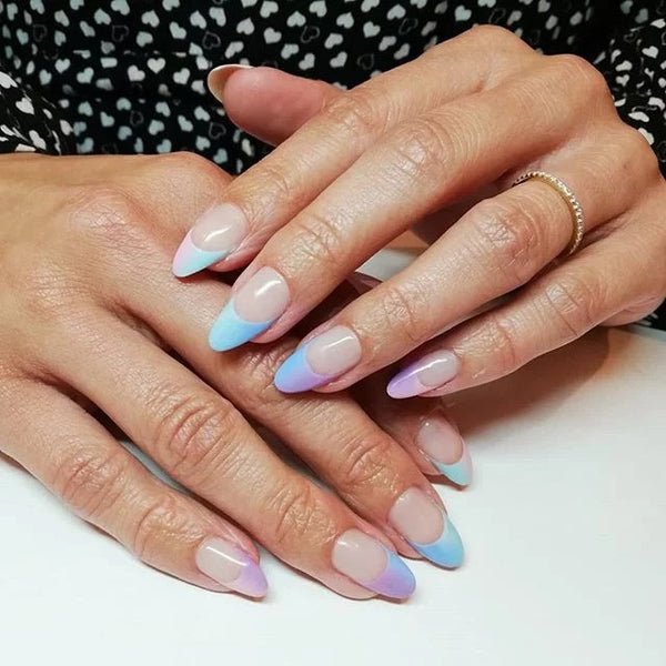 Pastel Colored French Nail Tips