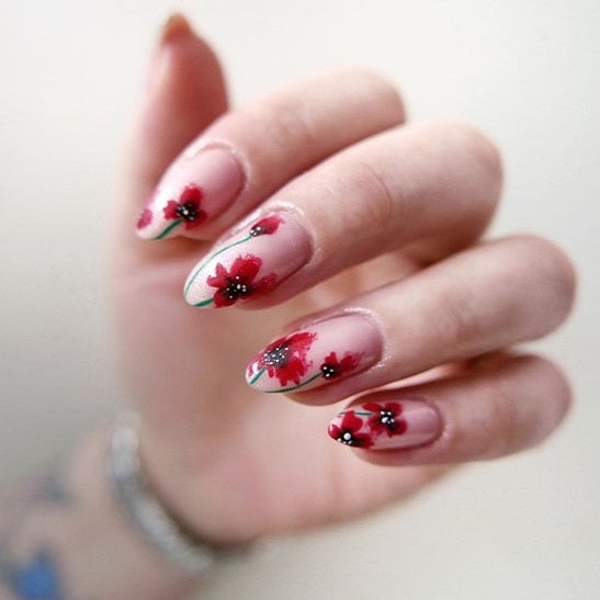 Picturesque Poppies Flower Nails