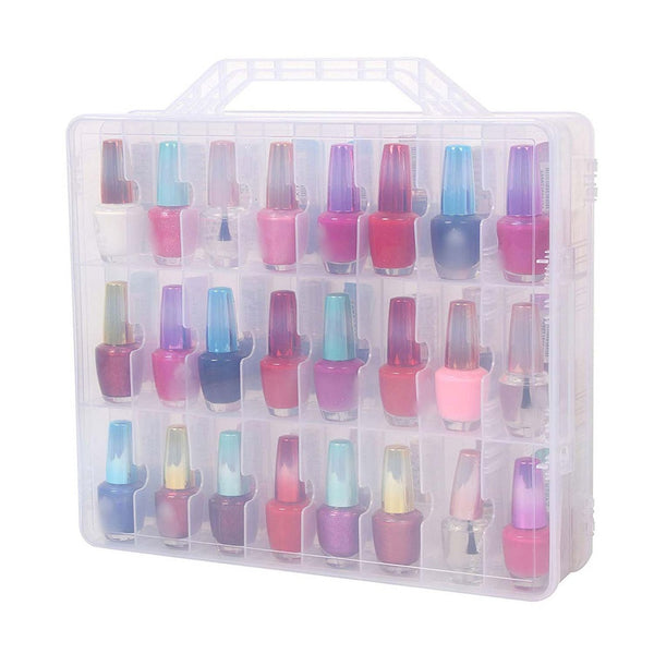 Portable Double Side Clear Nail Polish Organizer 48 Bottle Adjustable Divider