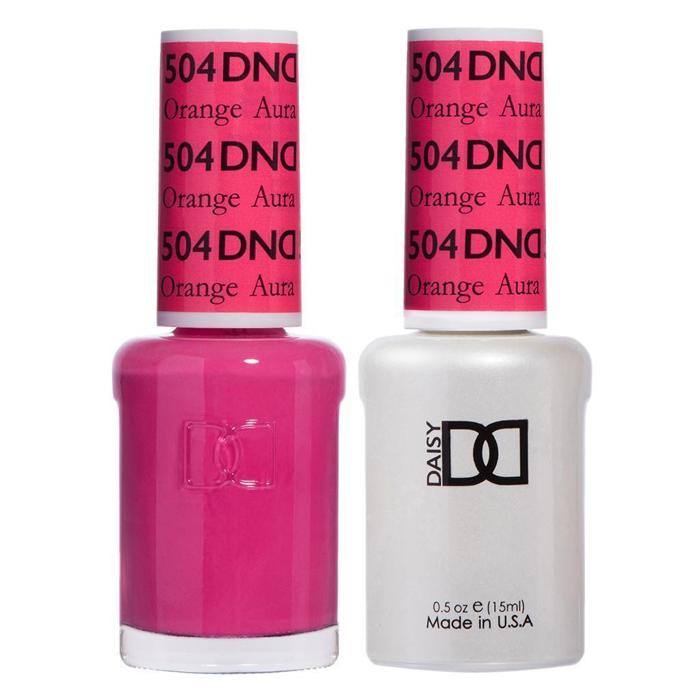 DND 504 Orange Aura - DND Gel Polish & Matching Nail Lacquer Duo Set - 0.5oz