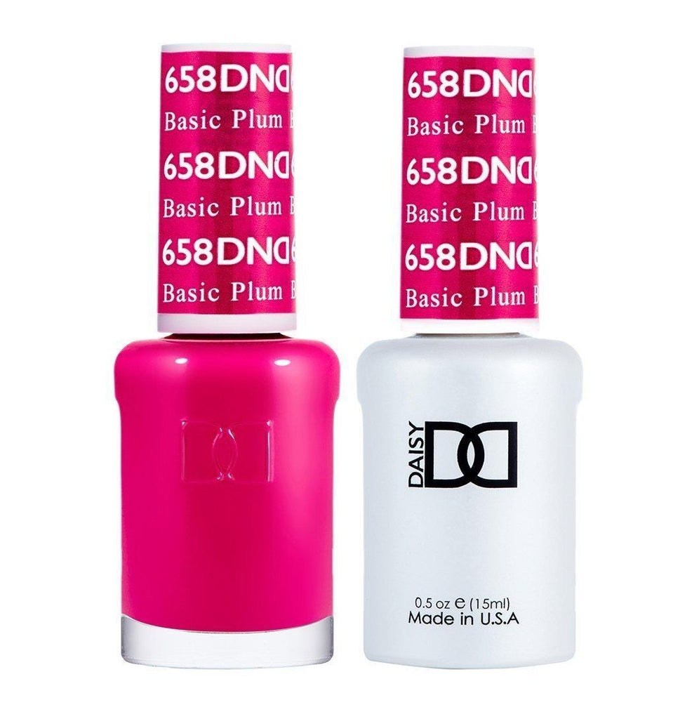 DND 658 Basic Plum - DND Gel Polish & Matching Nail Lacquer Duo Set - 0.5oz