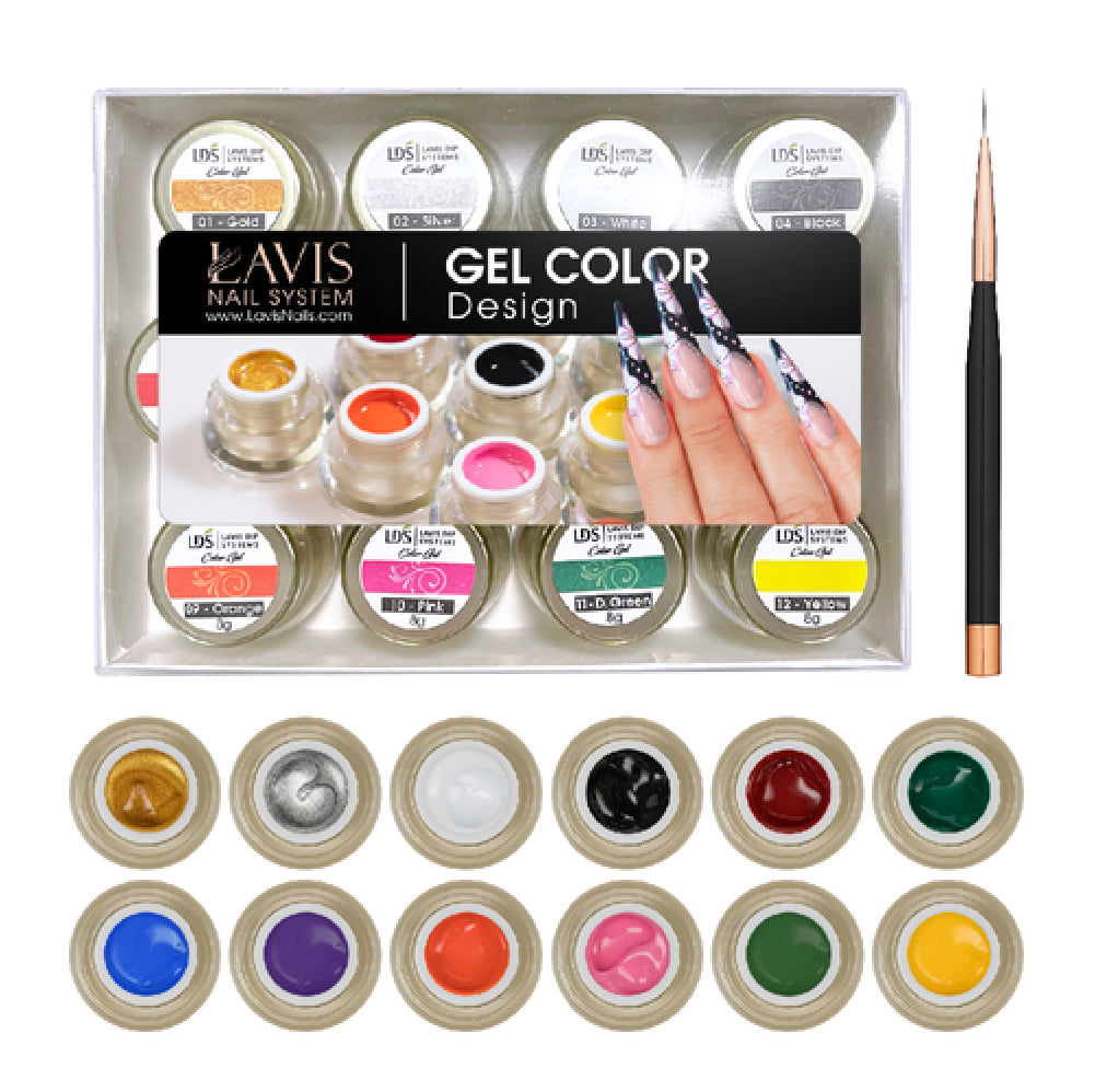 LDS Color Gel Kit 4 (12 colors): 01, 02, 03, 04, 05, 06, 07, 08, 09, 10, 11, 12, 1 LDS Liner Brush