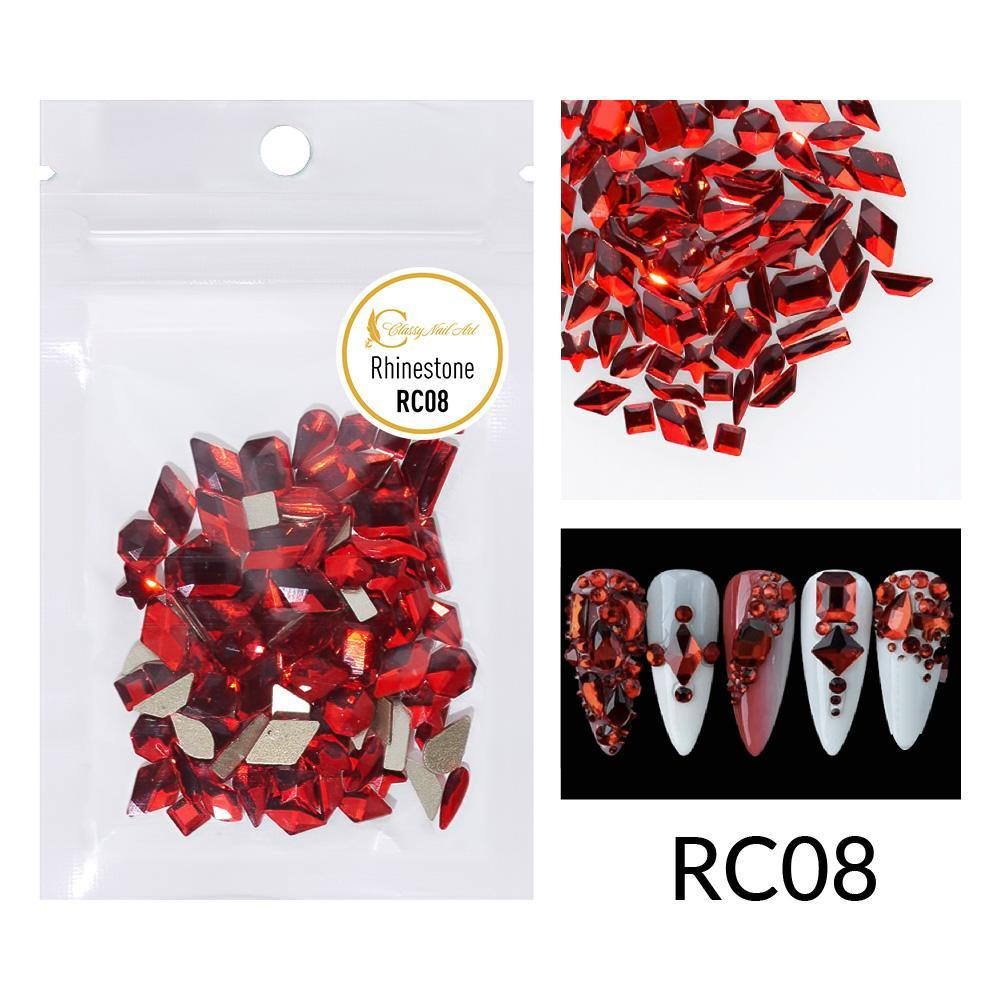 Red Multi-shaped Rhinestones - RC08 (50 pieces)
