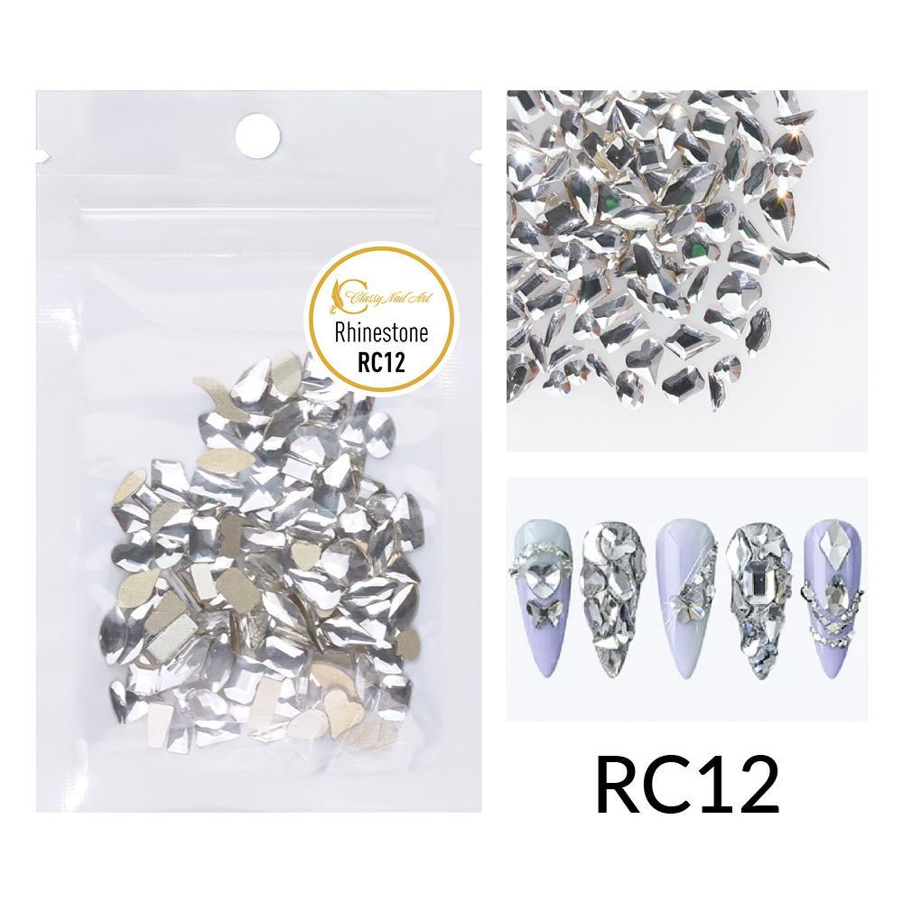 Silver Multi-shaped Rhinestones - RC12 (50 pieces)
