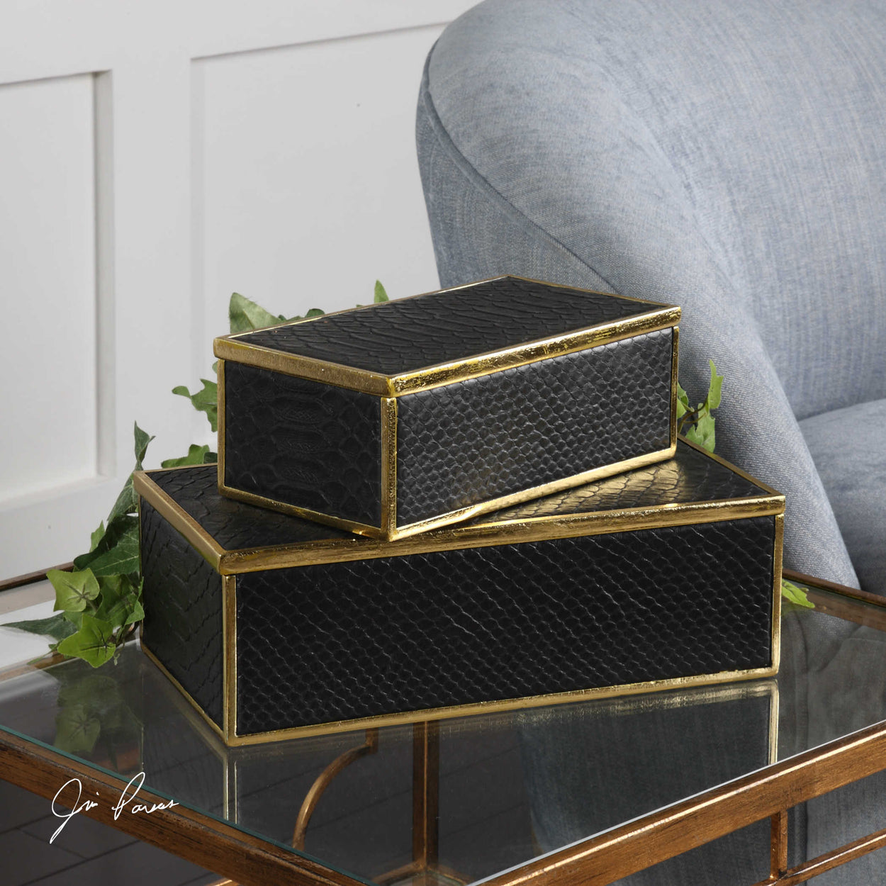 Black alligator patterned boxes with bright gold leaf trim and removable lids. Sizes: Sm-9x5x3, Lg-12x4x6