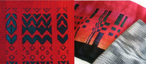 Red double weave wool scarves black and white 16 shaft silk scarf