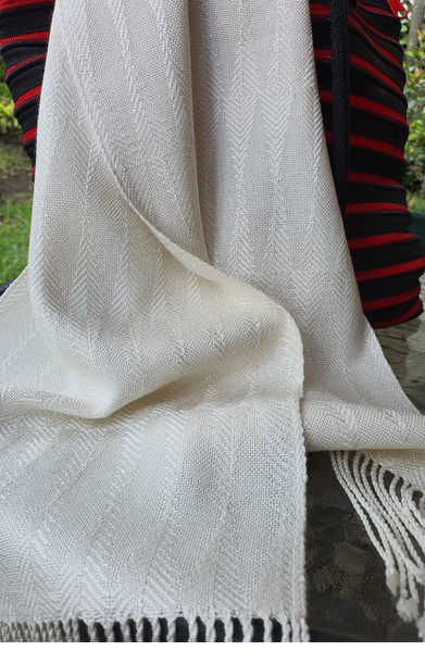 Natural White Silk Scarf
