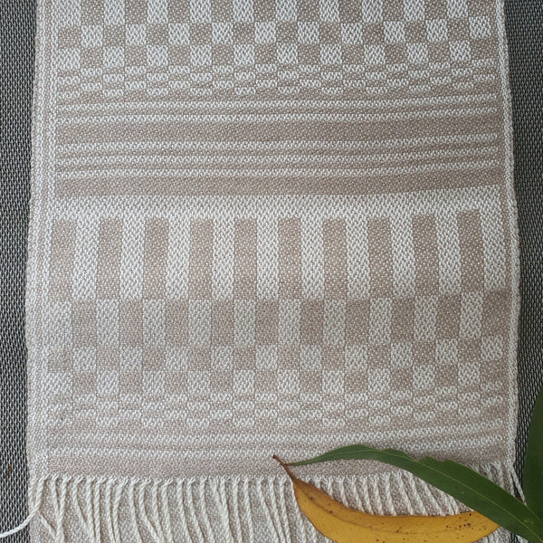 White and Taupe Natural Silk and Alpaca Scarf