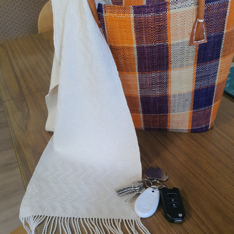 Natural Cotton Scarf-White