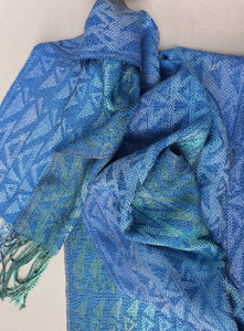 Silk Scarf -in blue green tones