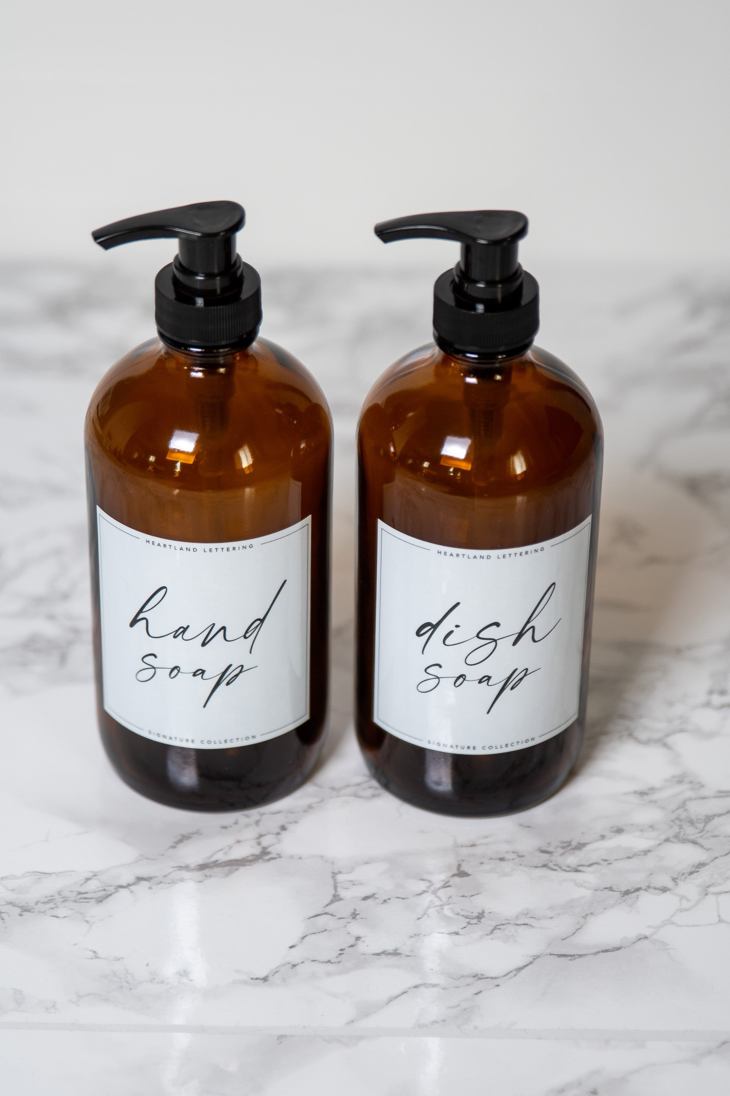 Glass Soap Dispenser Set - Handwritten Labels