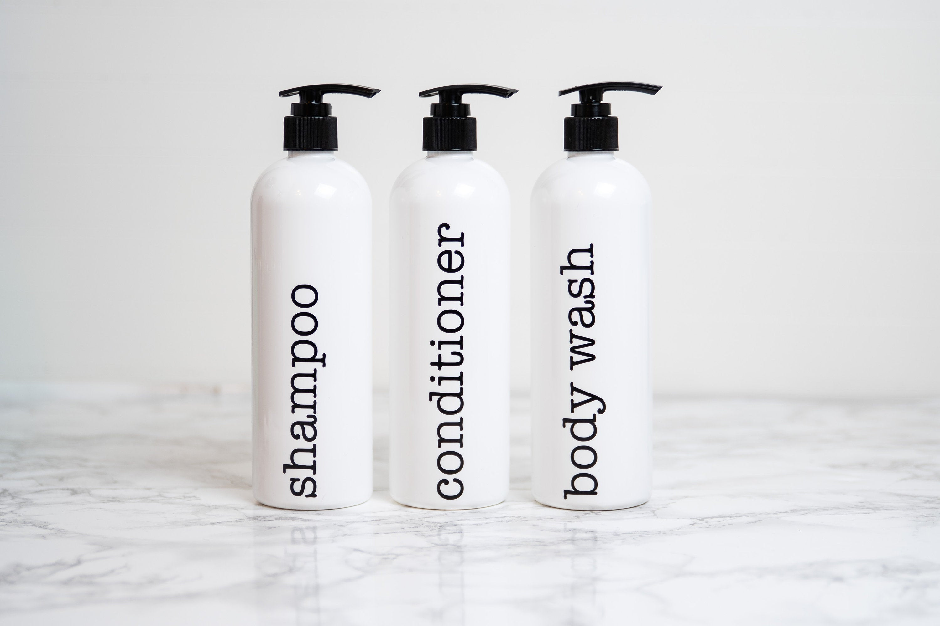Farmhouse Bathroom Shower Decor, Shampoo and Conditioner Containers, Personalized Shampoo Bottle, Body Wash Dispenser Plastic