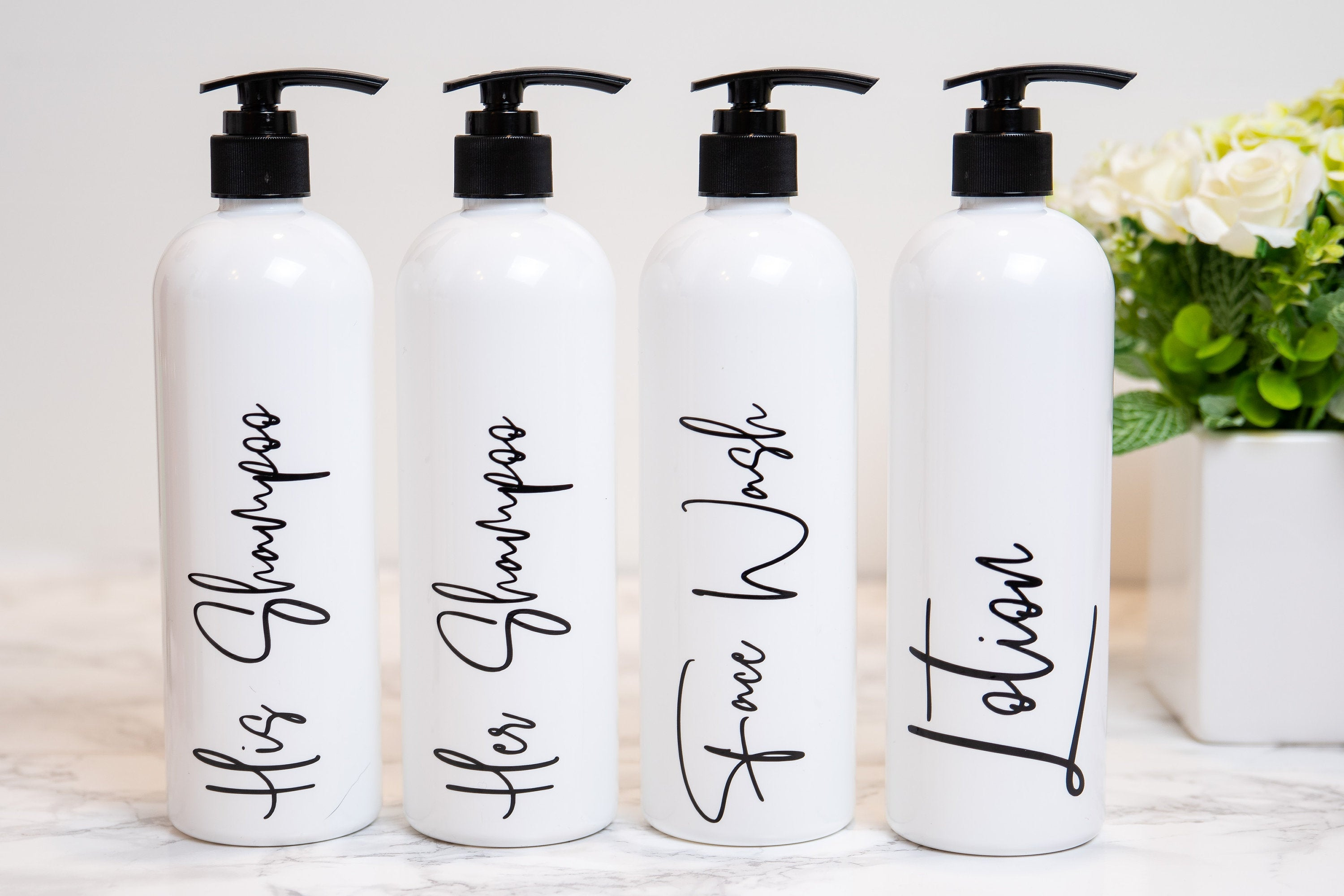 Shampoo Bottles with Pump, Modern Bathroom Decor, Bathroom Shower Decor, Bathroom Organization, Shampoo and Conditioner Bottles