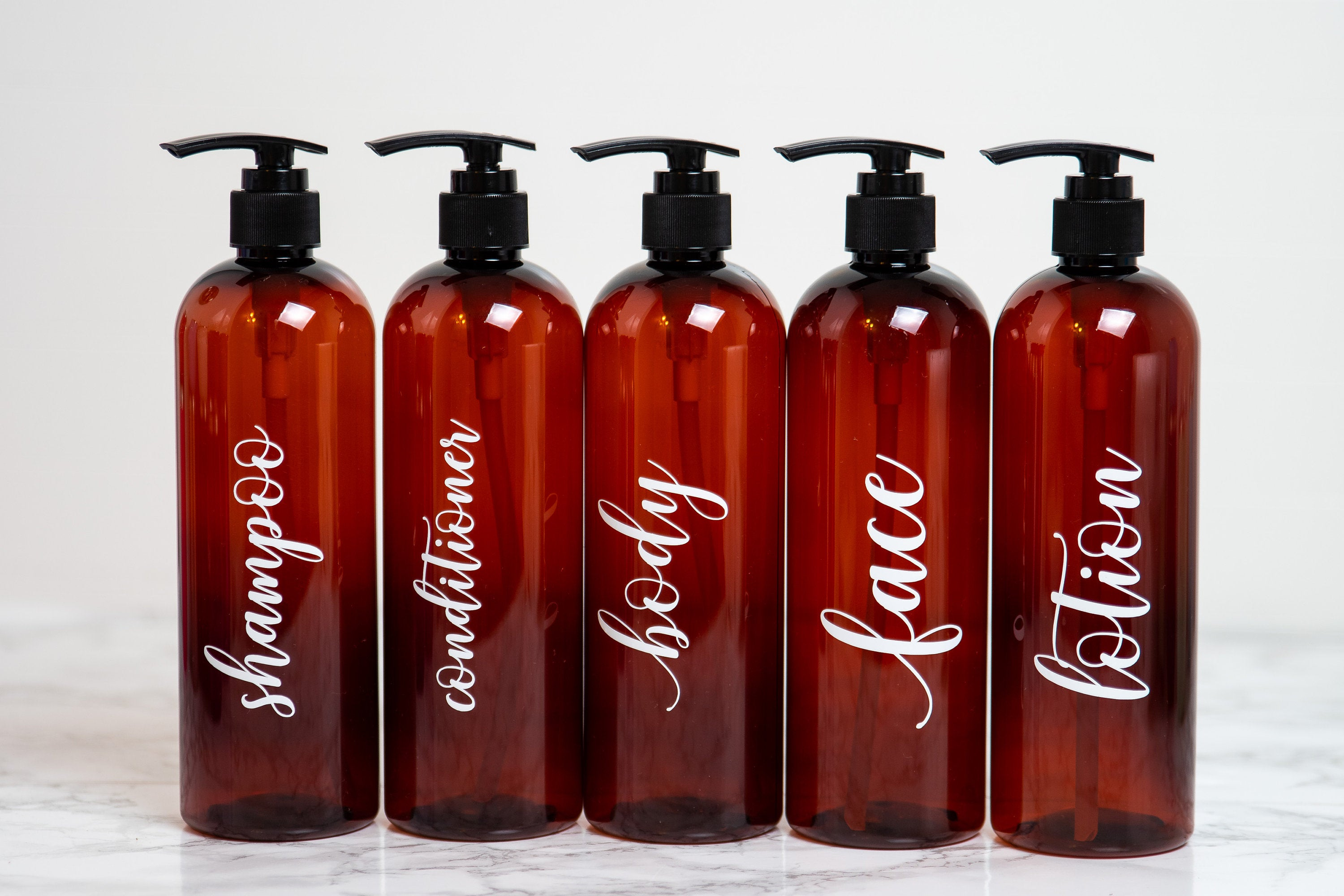 Amber Plastic Bottle for Shampoo, Shower Bottles, Shampoo and Conditioner Dispenser, Bathroom Shower Accessories