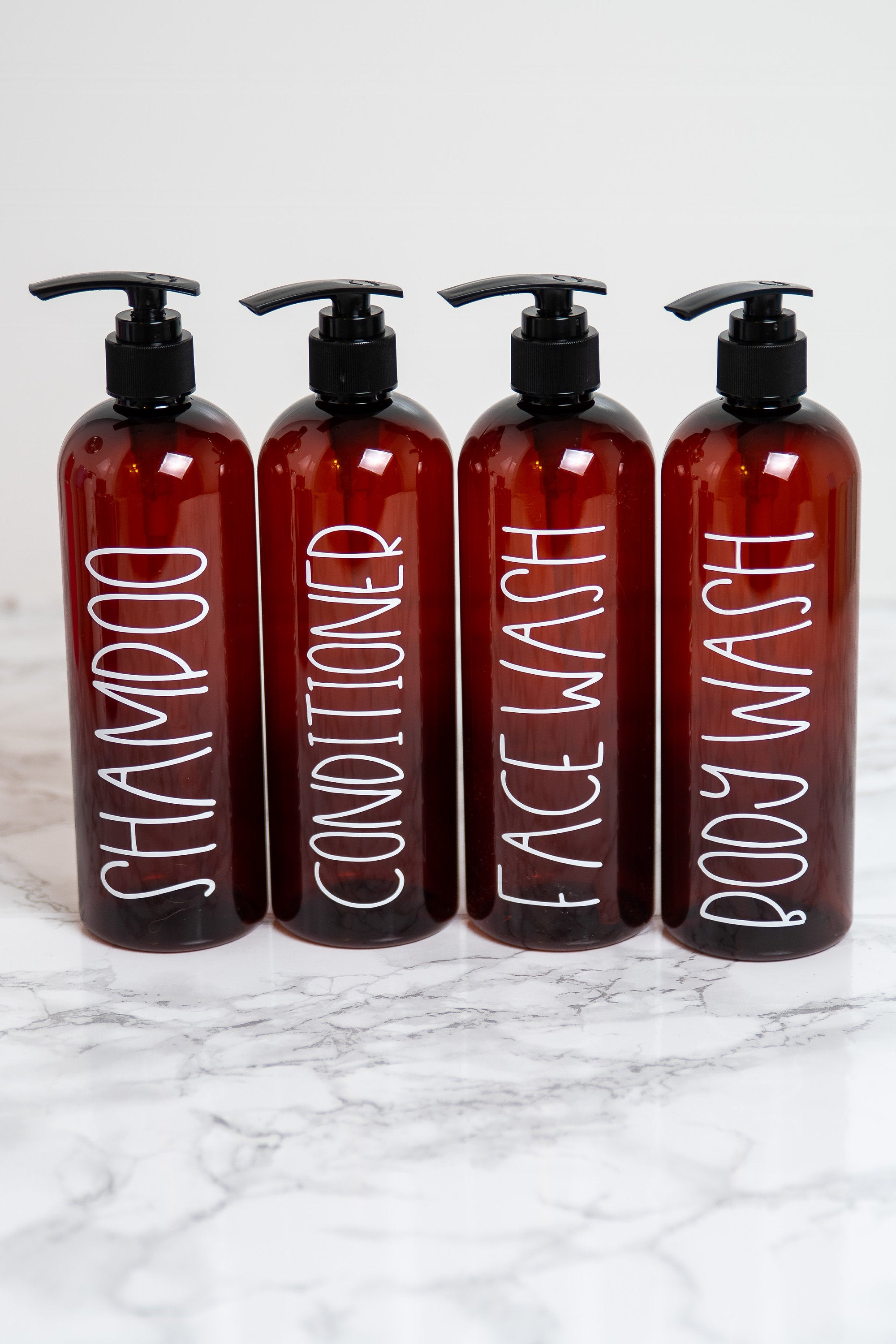 16 oz Shampoo Bottles, Refillable Dispenser Bottle with Pump, Labeled Shampoo Bottle Plastic, Guest Bathroom Decor Farmhouse