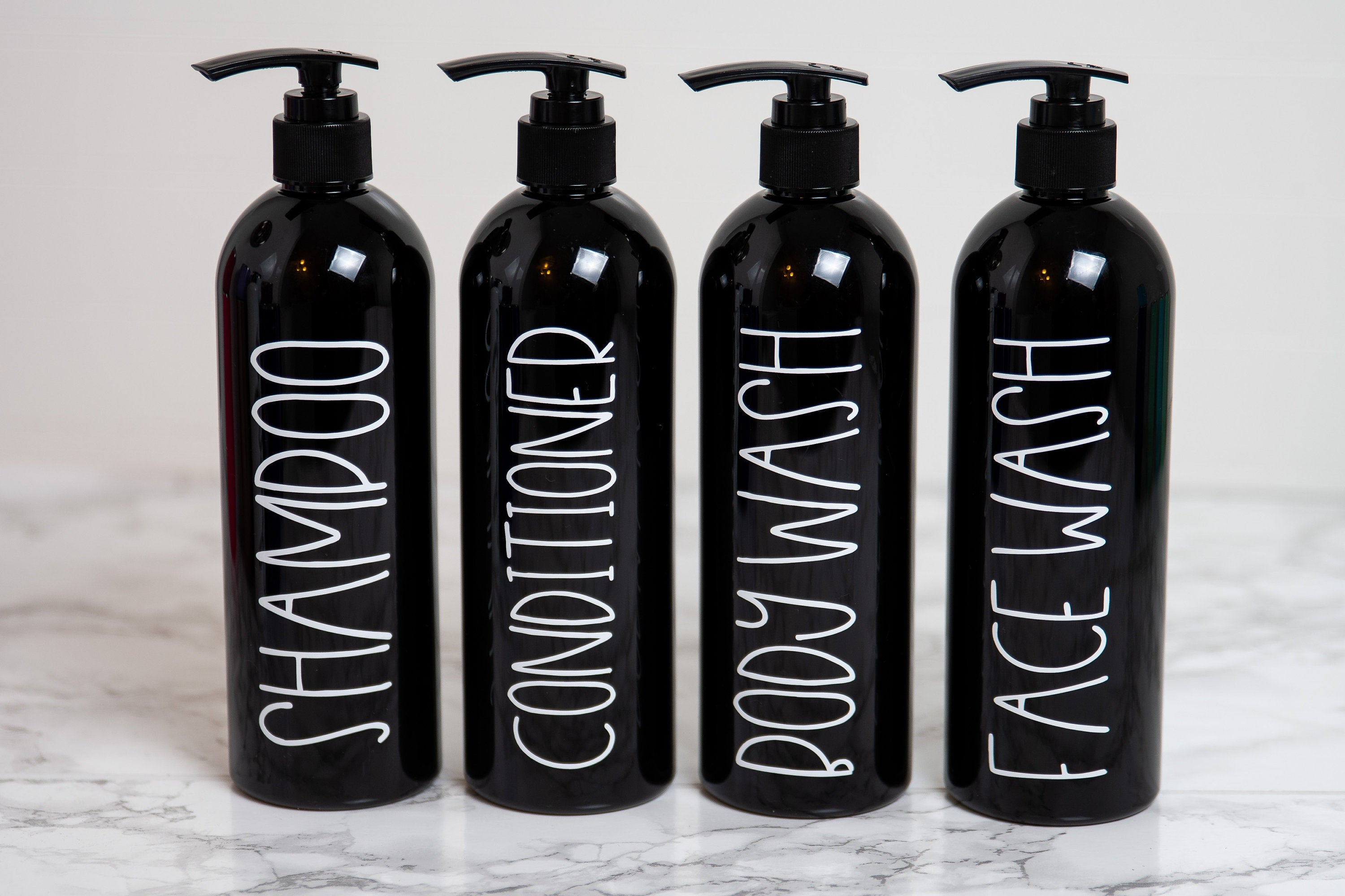 Black Shampoo and Conditioner Bottles Set, Bathroom Shower Set, Guest Bathroom Decor, Bathroom Storage and Organization