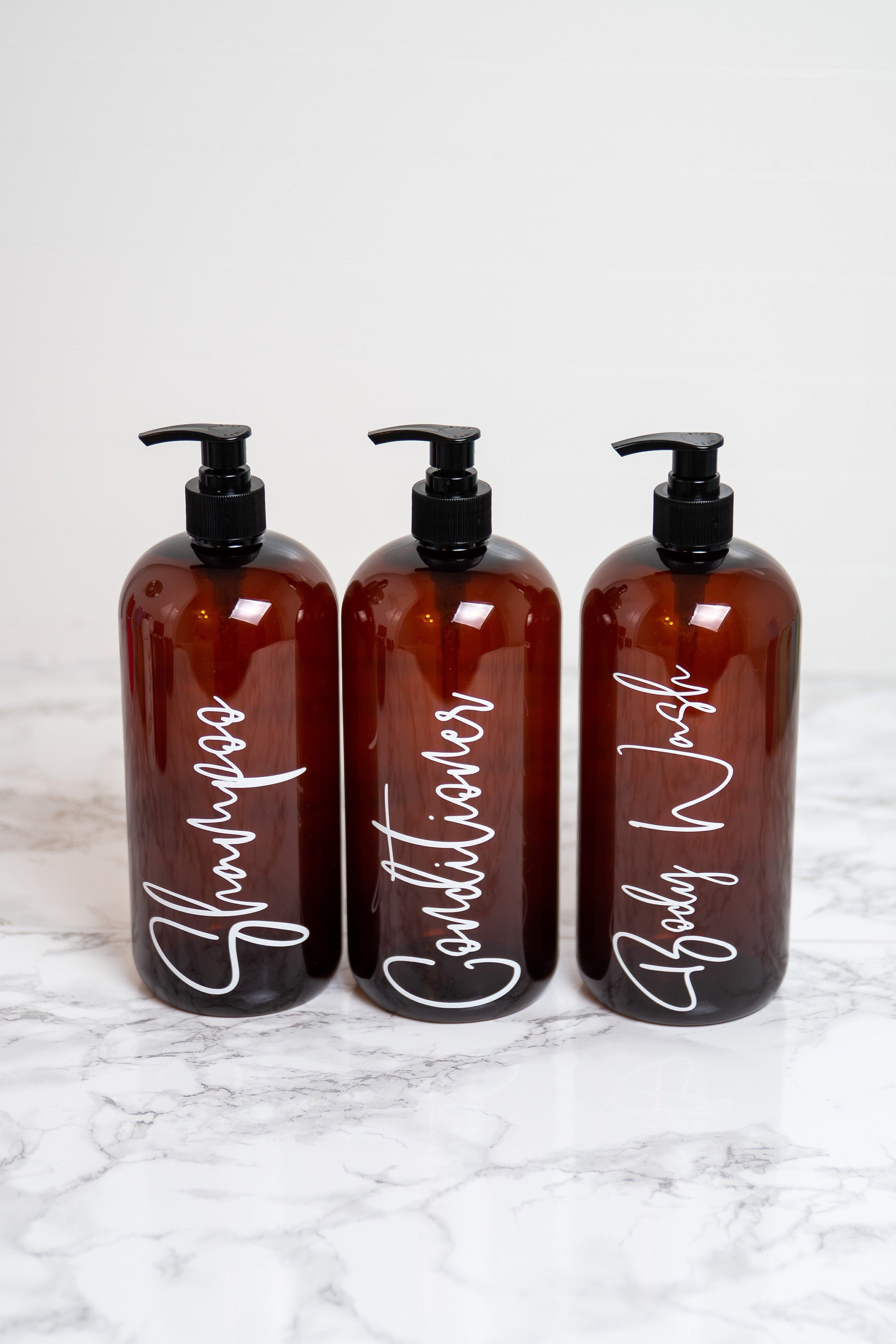 32 oz Shampoo Bottles with Pump, Shower Bottles Refillable with Labels, Shower Organization, Bathroom Bottles