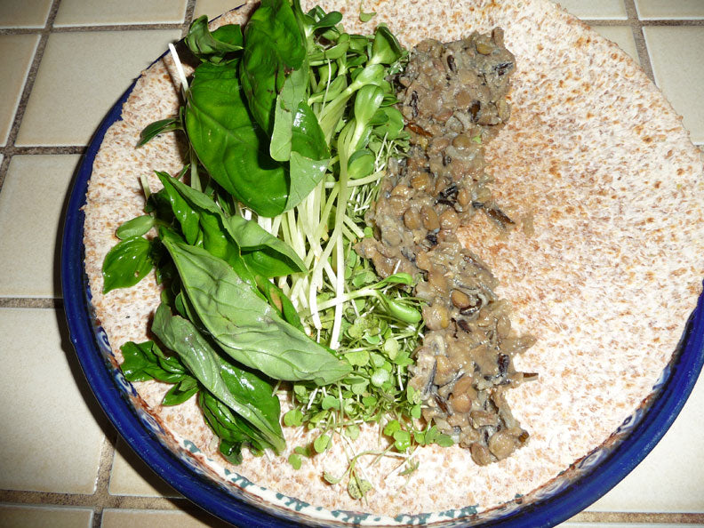 now add your cooked or sprouted lentils to the wrap