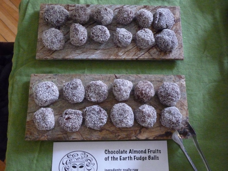 my raw chocolate almond FRUITS OF THE EARTH fudge balls! YUM! these are delicious!