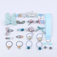 Load image into Gallery viewer, 18/24 Pcs/Set Children Hair Clip Set Baby Head flower Fabric Bow Barrettes Hair clips Girl Elastic hair Headband Headdress Gift