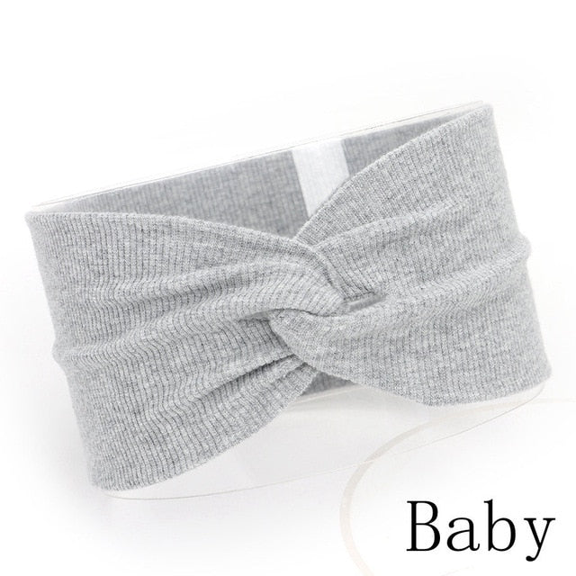 Baby Headband Mommy Twist Hairband For Women Girls Turban Mother Daughter Hair Accessories Cotton Newborn Head Wrap 2pcs/Set