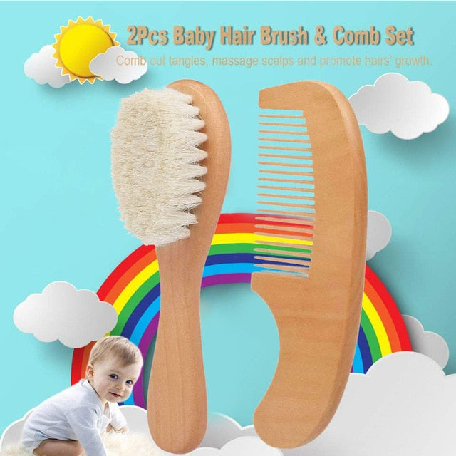 2pcs/ Set  Natural Wooden Comb Hair Brush Care Baby Hair Massage Kit