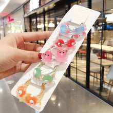 Load image into Gallery viewer, 10Pcs/Set Children Cute Cartoon Flower Fruit Rubber Bands Girl Sweet Princess Elastic Hair Bands Scrunchies Kid Hair Accessories